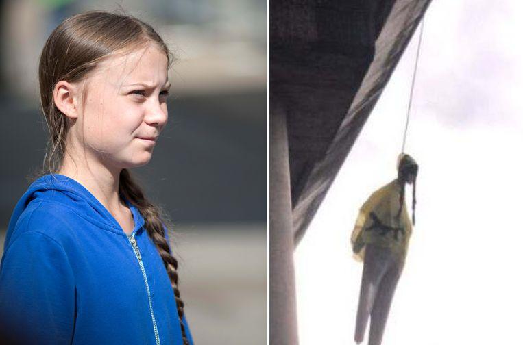 Aan een brug in Rome hing vandaag een stoffen pop die Greta Thunberg moest voorstellen.