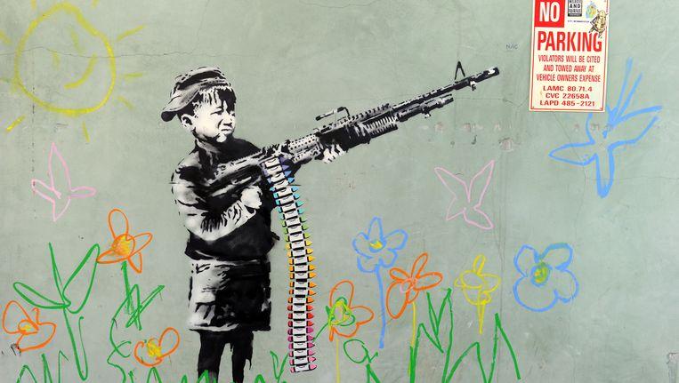 De werken van Banksy zijn te zien in de Beurs van Berlage. Beeld anp