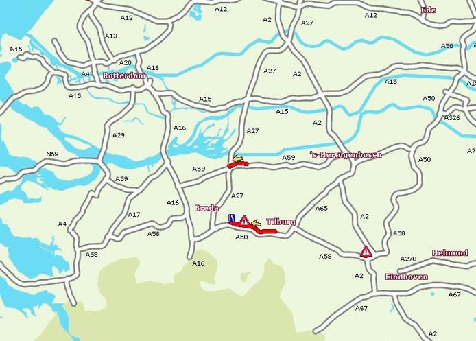 Files op de A58 en A59 door de ongevallen bij Tilburg.