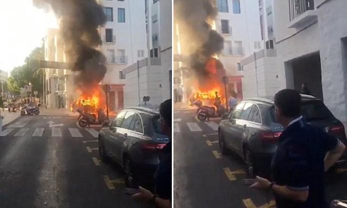 Auto-explosie in Marbella.
