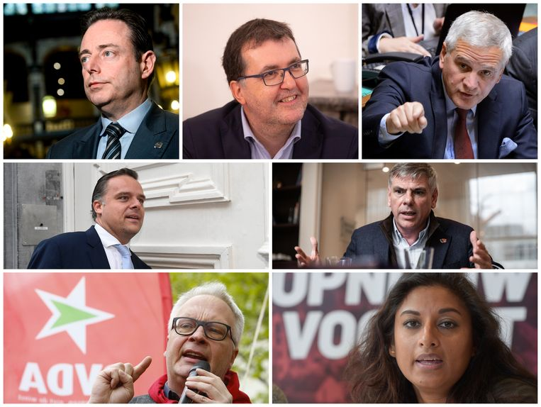 Vlrn. Burgemeester Bart De Wever (N-VA), Wouter Van Besien (Groen), Kris Peeters (CD&V), Philippe De Backer (Open Vld), Filip Dewinter (Vlaams Belang), Peter Mertens (PVDA) en Jinnih Beels (sp.a).