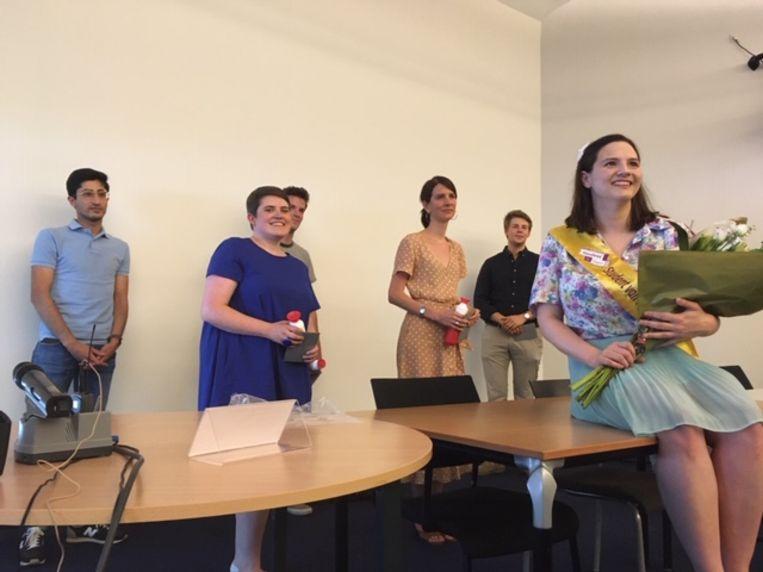Nicky Vandeghinste (uiterst rechts) met de andere 5 kandidaten voor Student van het Jaar 2020, stuk voor stuk ondernemende en creatieve jongeren.