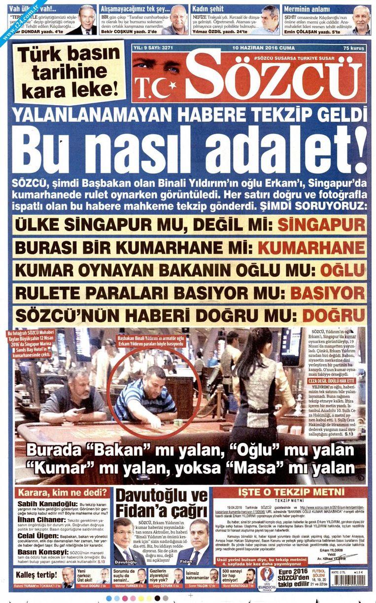 De krant Sözcü bericht over in Turkije omstreden casinobezoek van Erkam Yildirim, omcirkelt op de foto Beeld Sözcü