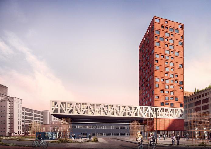 Een impressie van de nieuwe woontoren Haasje Over die deels over en deels naast skate- en BMX-hal Area51 wordt gebouwd door corporatie Sint Trudo op Strijp-S in Eindhoven.