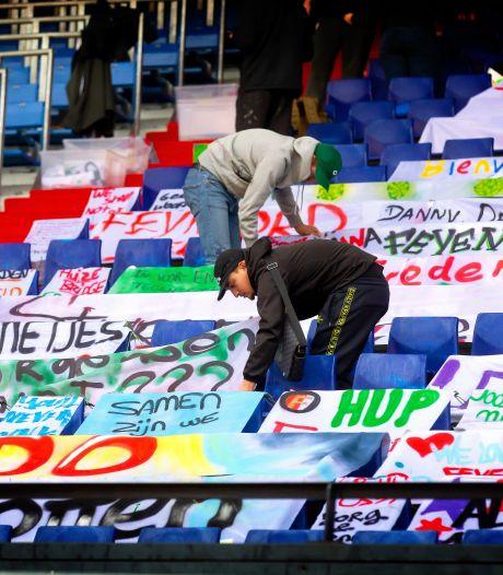 Supporters moedigen Feyenoord aan met spandoeken: 'De Kuip zonder publiek, dat maakt ons ziek'