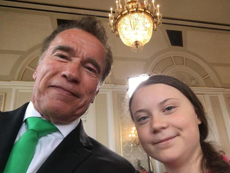 De Zweedse klimaatactiviste op de foto met de 'Terminator'