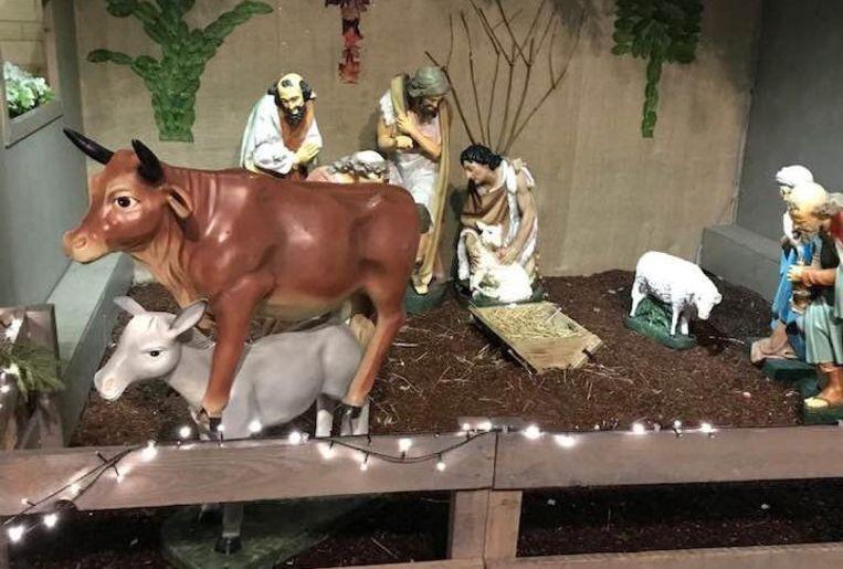 Vandalen zetten de os niet alleen op de ezel, ze namen ook kindeke Jezus weg uit z'n kribbe.