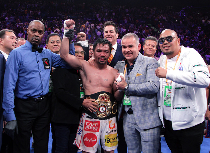 Manny Pacquiao na zijn gevecht met Keith Thurman.