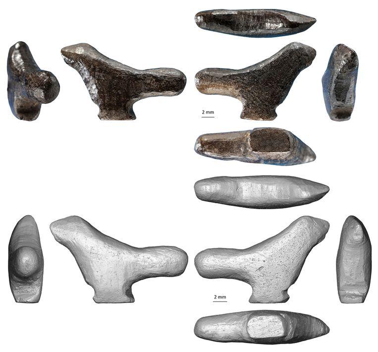 Het ruim 13 duizend jaar oude minifiguurtje van een vogel, ontdekt in China. Beeld Francesco d'Errico, Luc Doyon
