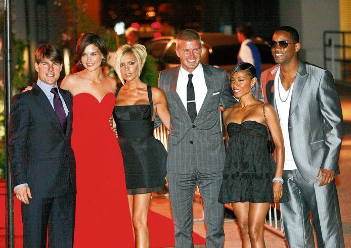 V.l.n.r:Tom Cruise, Katie Holmes, Victoria en David Beckham, Jada Pinkett Smith en Will Smith. De drie mannen schermden graag met elkaar.