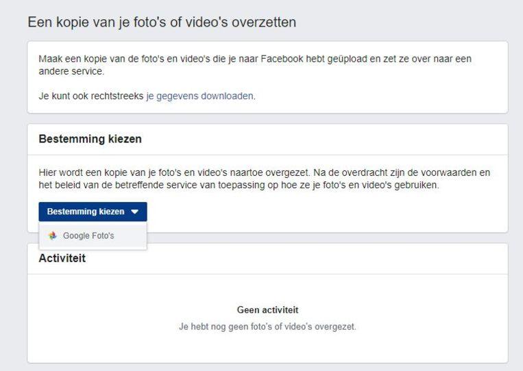 Het overzetten van foto's en video's van Facebook naar Google Beeld Facebook