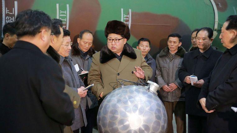 De Noord-Koreaanse leider Kim Jong-un op een foto van het Noord-Koreaanse staatspersbureau. Beeld afp