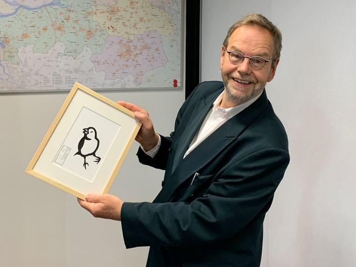 De Tilburgse kunstenaarsboden het pictogram aan aan gedupeerde Wil van Pinxteren van vrijetijd, cultuur en sport.