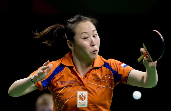 Li Jiao op de Olympische Spelen in Rio de Janeiro.