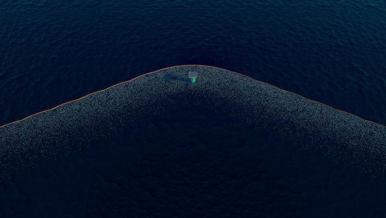 Deze illustratie gemaakt door The Ocean Cleanup laat zien hoe een drijvende barrière een verzamelpunt van plastic afval in de oceaan kan worden. Beeld AP