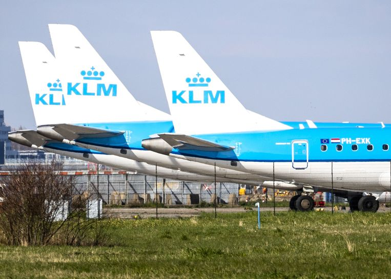 Een groot deel van de KLM-vloot staat door de coronacrisis aan de grond. Beeld ANP