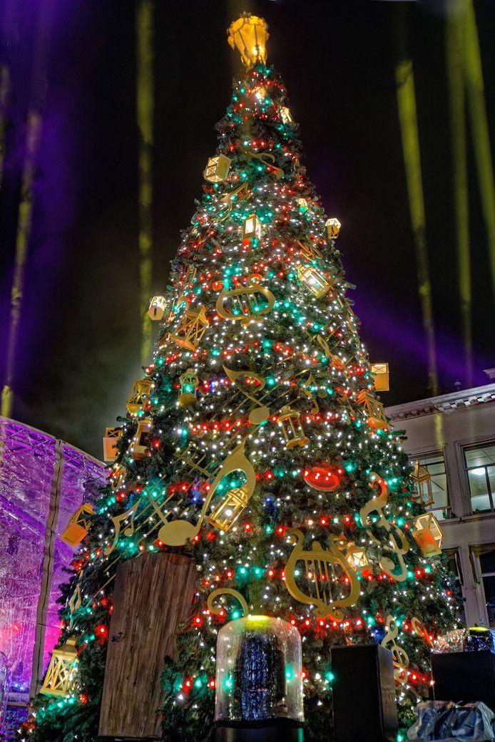 De kerstboom die in 2018 de Grote Markt in Breda sierde.