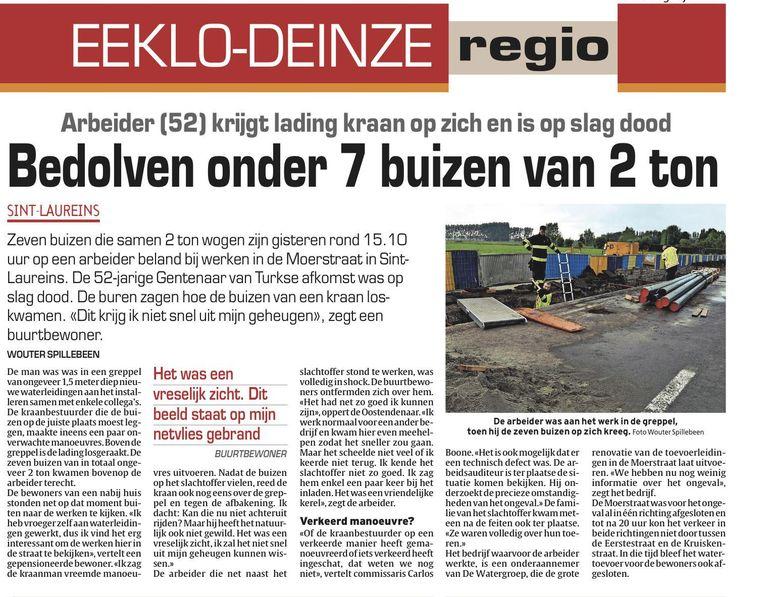 Het artikel over het ongeval in onze krant.