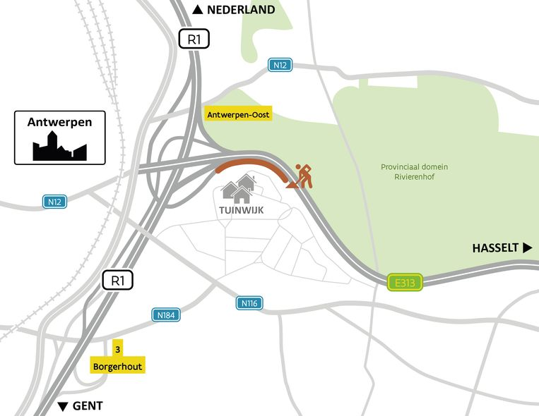 De nieuwe geluidsschermen komen in de bocht van de E313 ter hoogte van de Tuinwijk, aan de noordzijde van de Weerstandlaan en de Griffier Schobbenslaan.