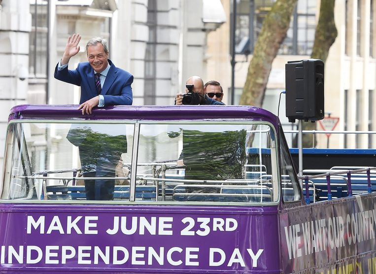 Nigel Farage, de partijleider van UKIP, voert campagne voor een Brexit. Beeld epa