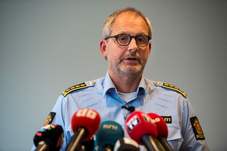 Inspecteur Tommy Brøske tijdens een persconferentie.