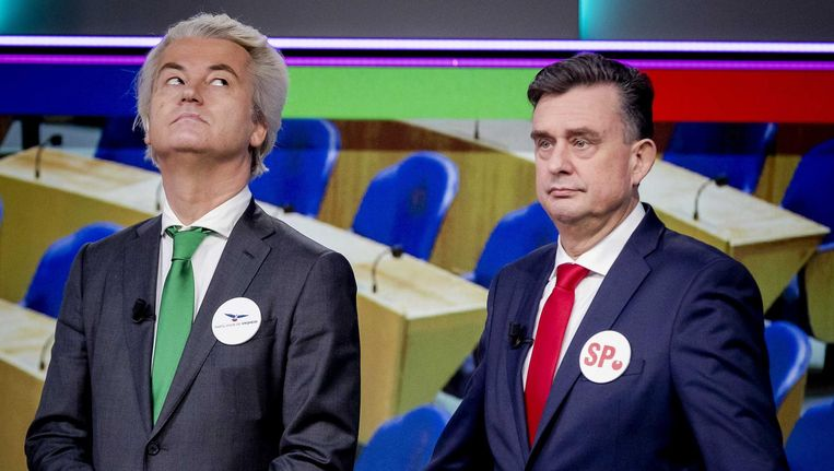 Geert Wilders en Emile Roemers bij de opnames voor een speciale aflevering van het Jeugdjournaal (die zaterdag aanstaande wordt uitgezonden). Beeld anp