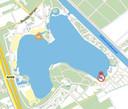 Overzicht van het zwemwater bij de Beekse Bergen met rechts onderin zone 2.