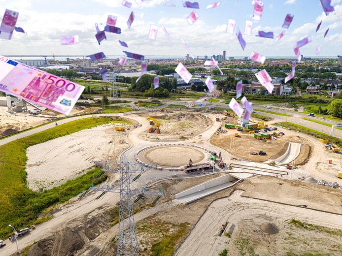Voorbereiding op de bouw van de marinierskazerne. Luchtfoto: gemeente Vlissingen. Fotobewerking: PZC