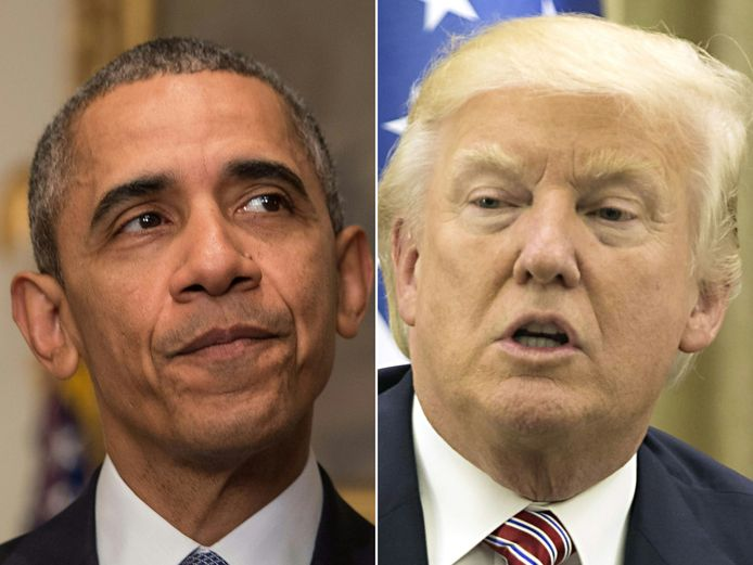 Barack Obama et son  successeur Donald Trump.