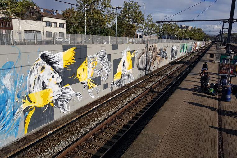 De graffitikunstwerken in het Halse station worden pas eind september afgewerkt.