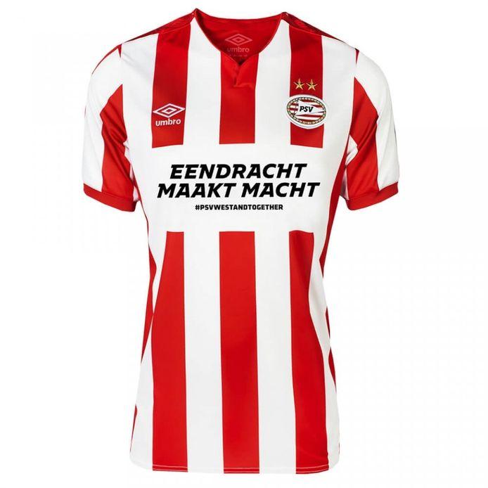 Het nieuwe shirt van PSV, waarvan de winst gaat naar het Rode Kruis.
