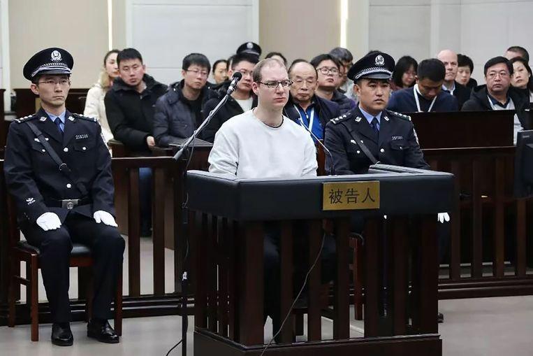 De Canadees Robert Lloyd Schellenberg in de Chinese rechtbank. Beeld AFP