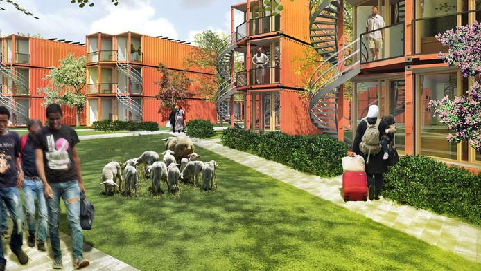 Een artist impression van de containerwoningen voor vluchtelingen die mee terug kunnen zodra het weer veilig is in het thuisland