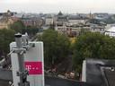 De nieuwe 5G-mast op het Leidseplein in Amsterdam