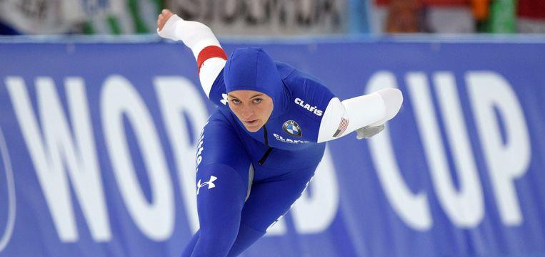 Heather Richardson in actie tijdens de 1500 meter vrouwen op de Wereldkampioenschappen in Berlijn. Beeld epa