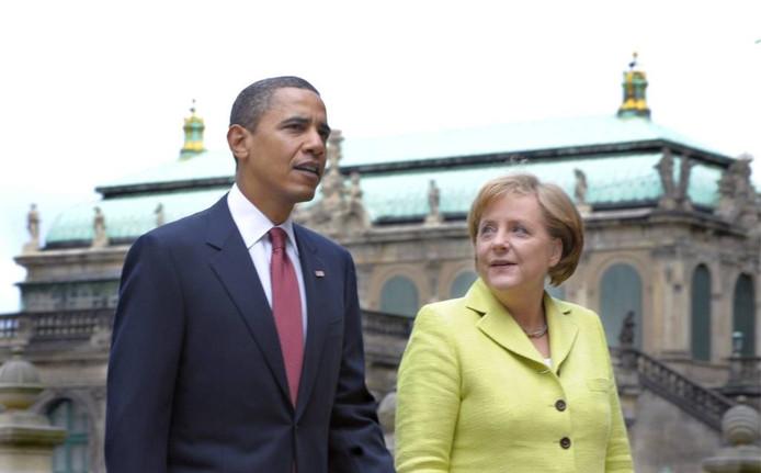 Barack Obama, op afscheidstour door Europa, sprak in Berlijn het Duitse parlement toe. foto EPA