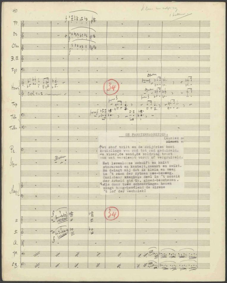 Partituur van 'Drieklank van den Arbeid' van Martien Beversluis en Leo Ruygrok (1942). Beeld muziekschatten.nl