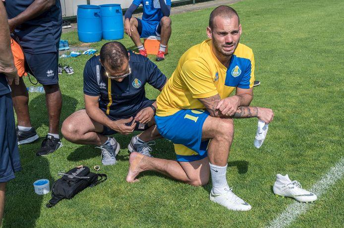 Oud-international Wesley Sneijder was met zijn club Al-Gharafa in 2018 op trainingskamp bij Juliana Mill.