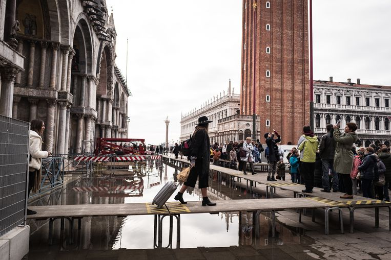 Toeristen voor de San Marcobasiliek in Venetië.  Beeld Zolin Nicola