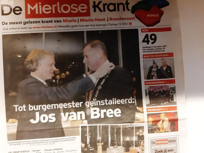 De Mierlose Krant gaat per 1 januari 2020 op in Middenstandsbelangen.
