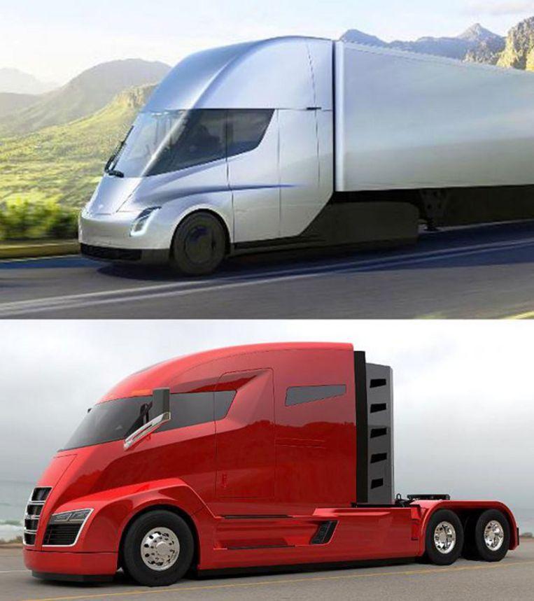 Tesla Semi (boven) en Nikola One (onder).