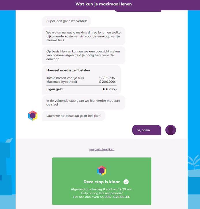 De chatbot reageert op een persoonlijke manier op antwoorden die je als klant invult.