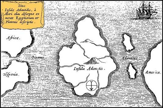 Een fictieve kaart van Atlantis uitgegeven door Athanasius Kircher (Amsterdam, 1665). Hier is het Noorden onder en het Zuiden boven. Links is Spanje nog zichtbaar en rechts Amerika. BRON WIKIPEDIA