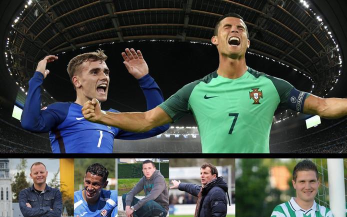 Wie wordt zondag Europees kampioen: Antoine Griezmann of Cristiano Ronaldo? Zeeuwse voetballers en trainers blikken vooruit. Vlnr: Marcel Lourens, Josimar Pattinama, Arjen de Koeijer, Diederik Hiensch en Jaap Esser.