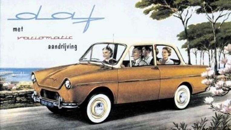 De eerste echte Nederlandse auto had een specifiek geluid. Affiche van Charles Burki. (Trouw) Beeld