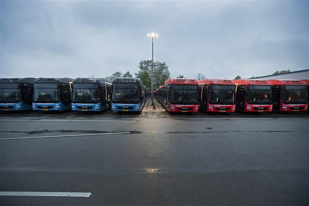 Bussen van Keolis op een rij. Daar komen binnenkort Chinese bussen bij.