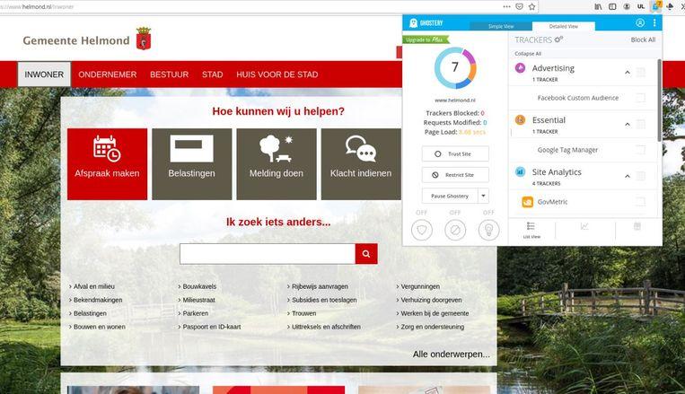 De gemeente Helmond maakt – zonder dat ze het weet – gebruik van volgsoftware van Facebook. Beeld Helmond.nl