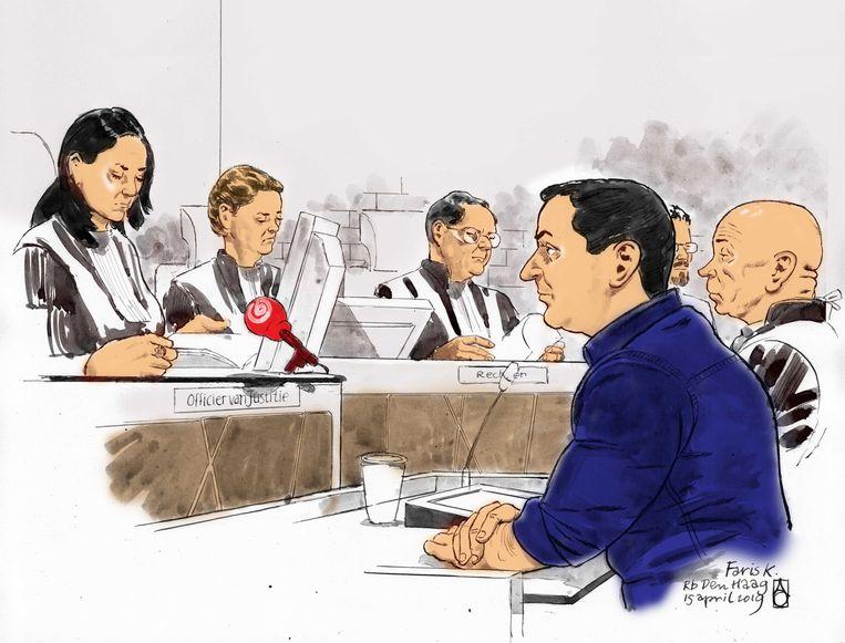 Rechtbanktekening van Faris K. Beeld ANP Graphics