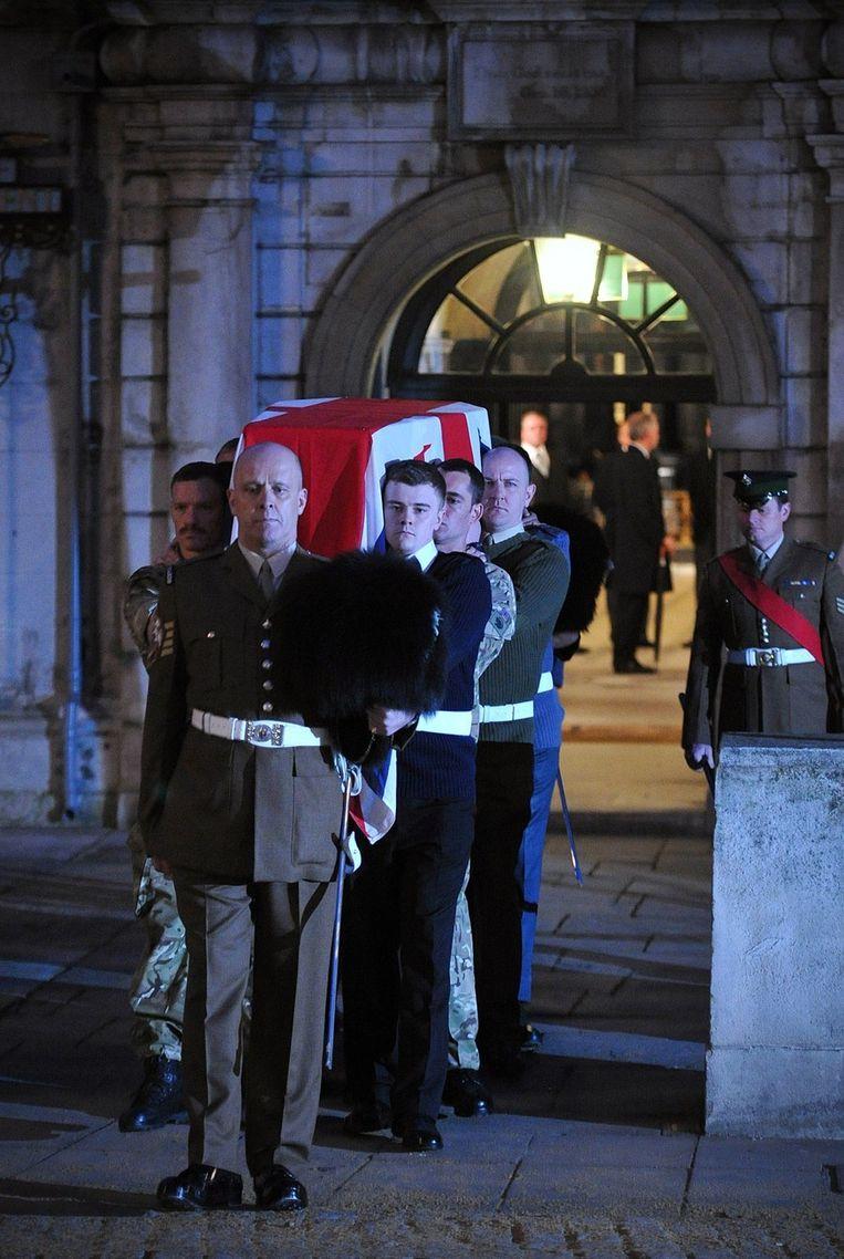 Londen hield al een repetitie voor de begrafenis van Thatcher. Beeld afp