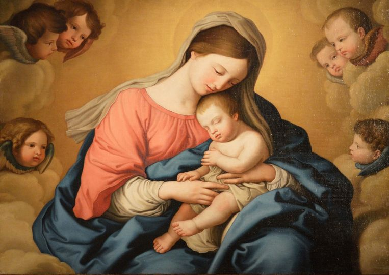 Madonna met kind en engelen Beeld Giovanni Battista Salvi da Sassoferrato